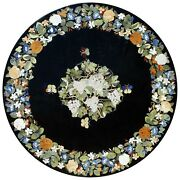 42 Black Marble Center Coffee Table Top Floral Inlay Marquetry Home Decor