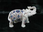 Animal Figurines Elephant Sculpture Marble Inlay Floral Work