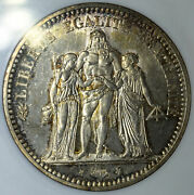 France 5 Francs 1871 A Ms62 Anacs Silver Km820.1 5f Hercules Rare Old Holder