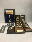 Lot 12 Vintage Bronze Trophies Engraved Awards Trophy Wall Plaques Skating Ball