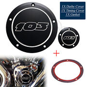 5 Holes Black Cnc Cut 103 Engine Derby Timer Timing Cover For Harley Touring Us