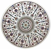 48 Round Marble Table Top Inlay Art Pietra Dura Work Home Room Furniture