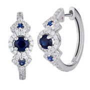 1.85ct Natural Round Diamond 14k White Gold Sapphire Snap Closure Hoops Earring
