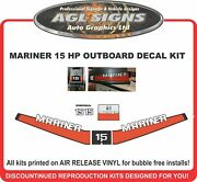 1977 - 1989 Mariner 15 Hp Outboard Decal Kit Reproductions 9.9 White Numbers