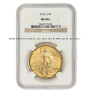 1924 20 Saint Gaudens Ngc Ms64+ Uncirculated Plus Graded Gold Double Eagle Coin