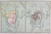 Old Antique Map Plan Jerusalem Middle East C1870's By Weller Ancient And Modern