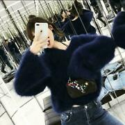 Korean Womenandlsquos V-neck Casual Bell Sleeve Faux Fur Sweater Pullover Tops Loose