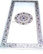 Hallway Room Marble Dining Table Top Abalone Inlay Floral Mosaic Stone Art Decor