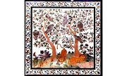 Animal With Floral Birds Arts Marble Dinette Top Table Inlay Hallway Decor H5634