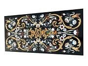 4and039x2and039 Marble Black Dining Table Top Multi Precious Stone Inlay Living Decor B046