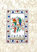 Lapis Malachite Parrot Art Marble Dining Table Top Mosaic Inlay Home Decor H3832