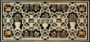 Marble Dining Top Black Table Marquetry Floral Inlaid Outdoor Garden Decor H4830