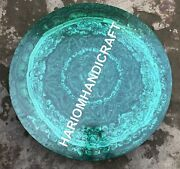 36and039and039 Green Marble Round Top Table Mosaic Handmade Inlay Cafeteria Decor E754b