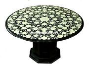 Marble Black Abalone Stone Top With Stand Dining Table Inlay Interior Arts H3446