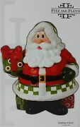 Christmas Fitz And Floyd Holiday Cheer 11 In Santa With Present Cookie Jar Nib