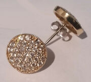 1.50 Ctw E Vs2 Round Ideal Cut Diamond Pave Disc Earrings 14k Yellow Gold 14mm