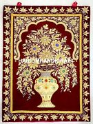 3and039x2and039 Maroon Flower Gold Stitch Kashmir Tapestry Wall Hanging Home Decors M058
