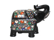 Black Gemstone With Multi Fine Floral Marble Elephant Inlaid Figurine Gifts H525