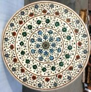 White Marble Dining Center Table Tops Multi Marquetry Inlaid Floral Design H4376