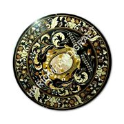 36 Black Round Marble Dining Table Top Collectible Marquetry Inlay Decor E1069a