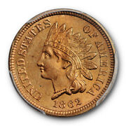 1862 1c Indian Head Cent Pcgs Ms 65+ Uncirculated Stunning Cac Approved