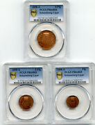Germany 1858, Copper Proof Set, 3 Coins, Schaumburg Lippe, Pcgs Pr64 Red