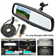 4.3 Rear View Mirror Monitor+tire Mount Backup Camera For Jeep Wrangler 07-17
