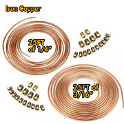 Iron Copper Brake Line Tubing Kit 3/16 1/4 Od 25 Foot Coil Rolls All Fittings