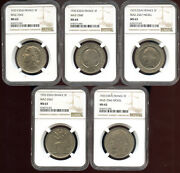 France 1933 Essai Pattern Set Of 5 Coins All Different 5 Francs Ngc Ms62 - 64