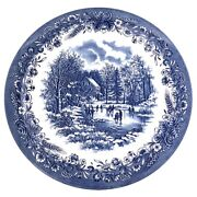 Churchill England Ice Skating Winter Cottage Large Serving Plate Platter 12.75andrdquo