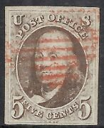 U.s. Scott 1a Used Vf With Certificate - 1847 5c Dk Brown First Issue Cat 1150