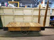Gopher Floor Truck Industrial 1900's Antique Railroad Cart Or Coffee Table