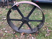 Vintage Industrial 3and039 Cast Iron Leather Belt Pulley Wheel Medart St Louis