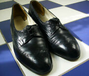 Seldom Found Vtg Wwii 1940and039s Brown Womans Wingtip Shoes Low Chunky Heel 8 Blk