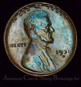 1c One Cent Penny 1936 D Unc Bu Lincoln Wheat Colorful Ice Blue Tones Gem