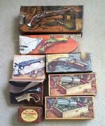 8 Vintage Avon Collectible Cologne Bottles And Decanters In Pistol And Pipe Shapes