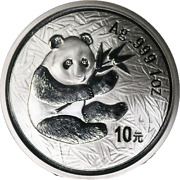 2000 10 Yuan China Pr 1 Ounce Silver Panda Ag Frosted Pcgs Ms68