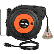 Dewenwils Retractable Extension Cord Reel 50 Ft Heavy Duty Power Cord 3 Outlets