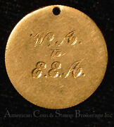 Love Token Engraved Wa To Eea 2 1/2 2.5 Dollar Gold Coin Necklace Pendant Charm