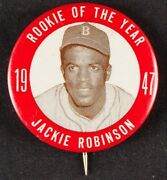 1947 Jackie Robinson Pinback Pin 1 3/4 Rookie Of The Year Brooklyn Dodgers