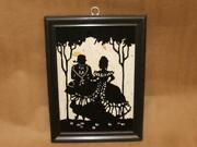 Vintage Silhouette Picture Courting Victorian Couple Milkweed Background 6 X 8