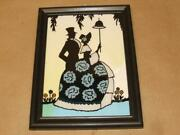 Vintage Painted Silhouette Courting Couple Man And Woman Wall Hang Picture 6 X 8