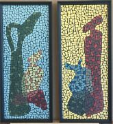 Pair Mid Century 1950's Mosaic Oil Paintings Of Vinegar And Oil Decanters