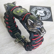 Paracord Bracelet With Steel Beads Wolf Head And Templar Cross. Viking Style