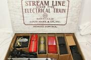 Vintage Marx New York Central Freight Set W/ 400 Loco And 3 Tin Litho Cars 4222