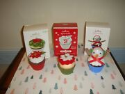 Hallmark 2010 And 2014 Sweet Surprise And 2019 Le Christmas Cupcakes Ornaments