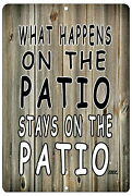 Funny Tin Sign - What Happens On The Patio   Wall Decor, Bed, Bath