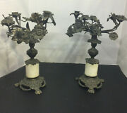 Brass Candelabras Pair 4 Candle Branches