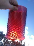 Antique Victorian Cranberry/pigeon Blood Swirl Glass Hanging Oil Lamp Shade
