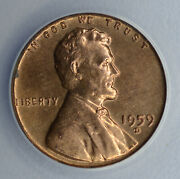 1c One Cent Penny 1959 D/d/d Ms64 Rb Anacs Rpm5 Lincoln Memorial Error